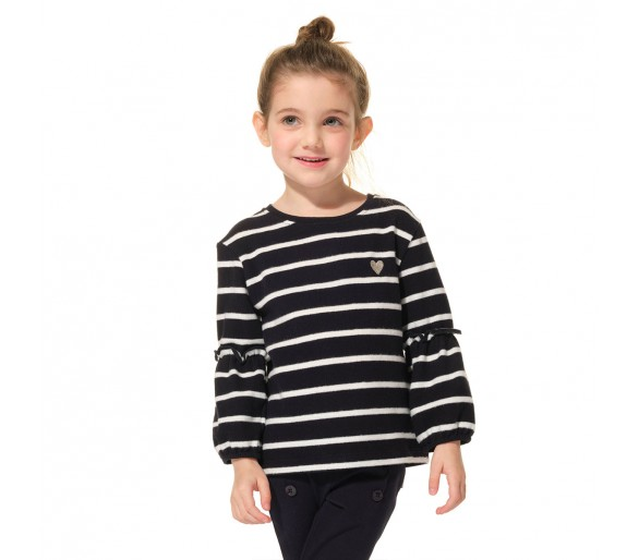 TREFLE / Tee-shirt fille rayé col rond