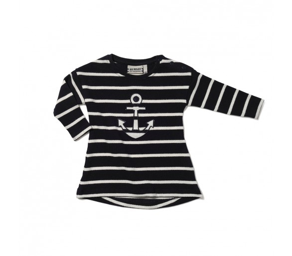 Tee Shirt Manches Longues Bebe Hublot Mode Marine : CAMOMILLE / Robe fille rayée col rond