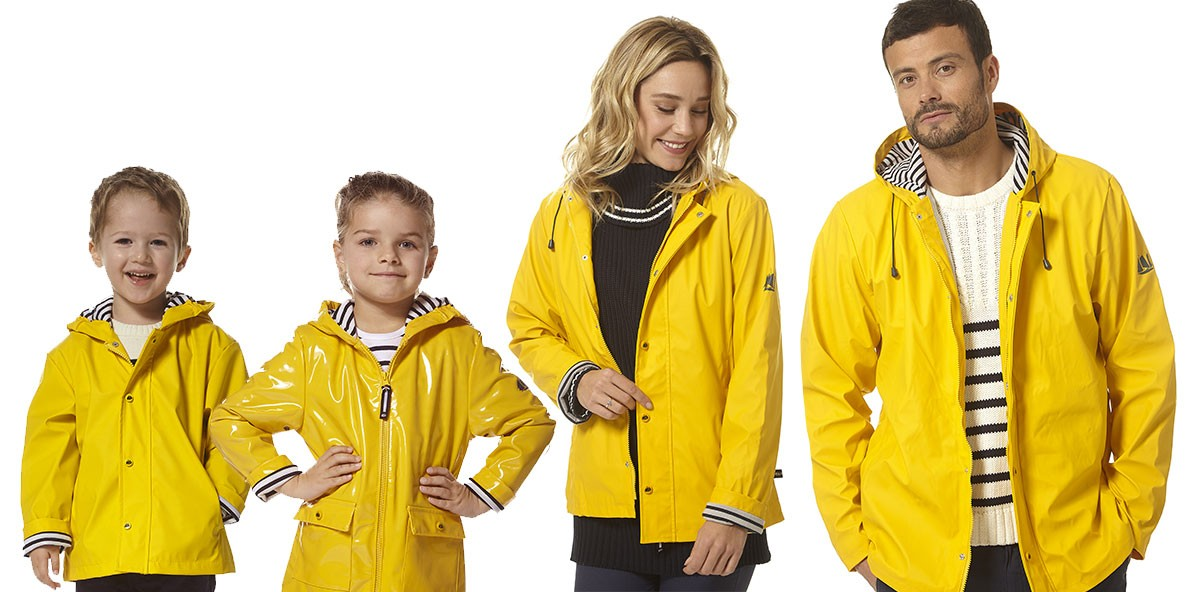 Iconic yellow raincoats, yellow raincoat men, yellow raincoat women, hublot raincoats